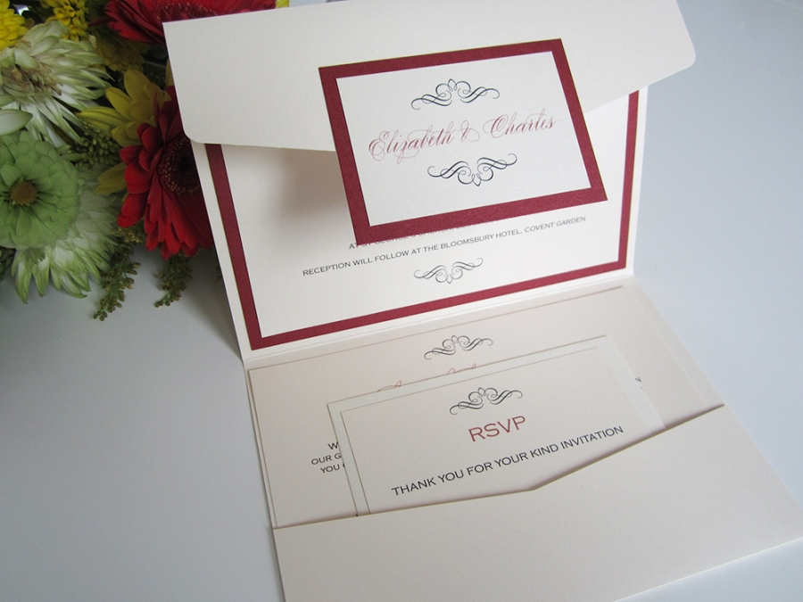 Bloomsbury pocketfold invitation