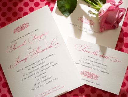 Electra embossed invitation