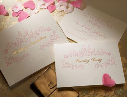 Rococo letterpress invitation