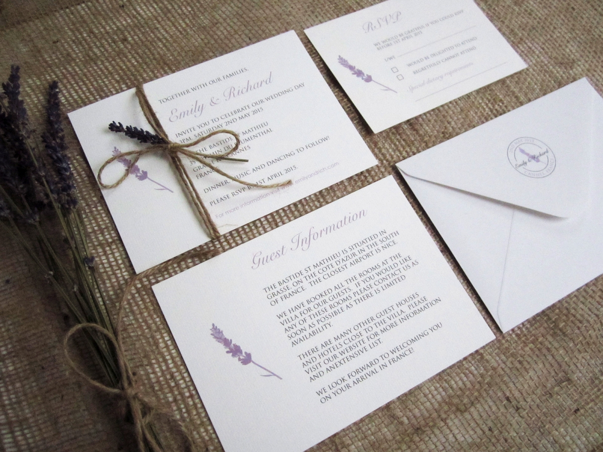 Lavender Love Rustic Wedding Stationery Suite 187 Sj