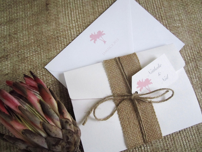 Palm tree beach pocketfold wedding invitation