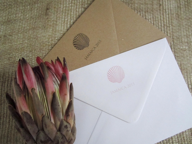 Sea shell wedding envelope motif