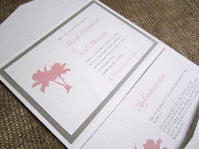 Palm tree beach pocketfold wedding invitation