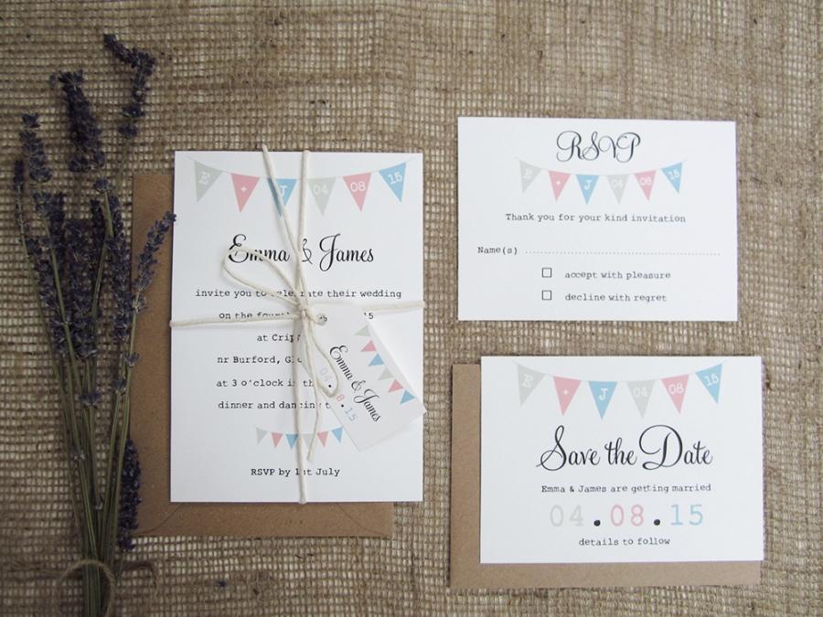 Village Fete bunting wedding stationery suite SJ Wedding
