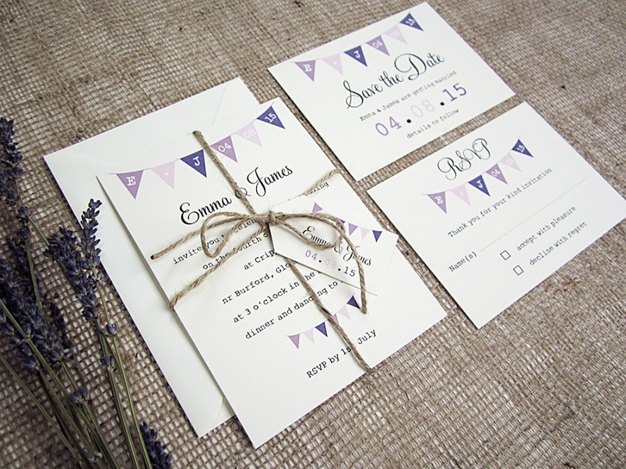 Village Fete Bunting Wedding Stationery Suite SJ Wedding Invitations London