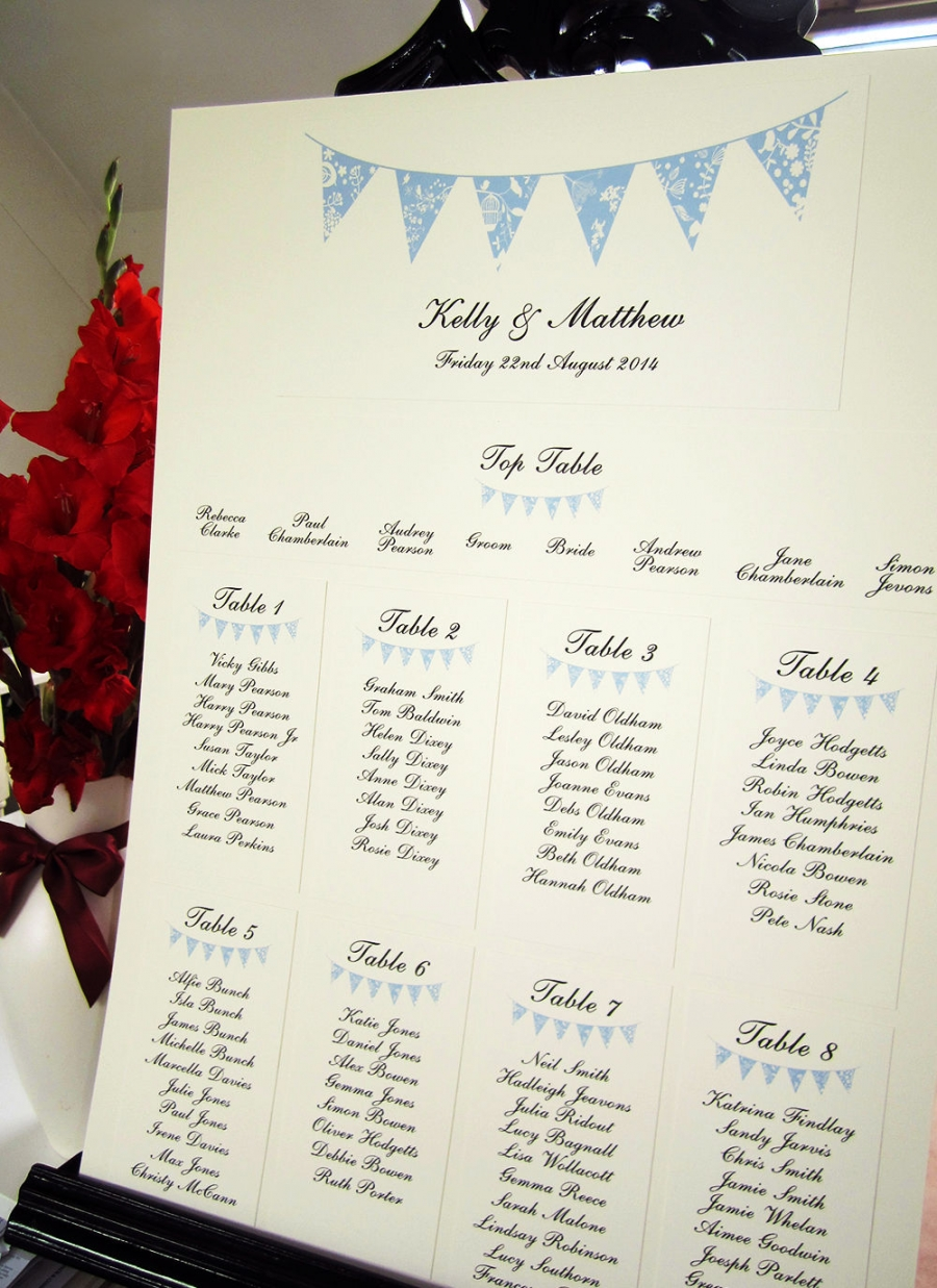 Summer Bunting Rustic Table Plan SJ Wedding Invitations London