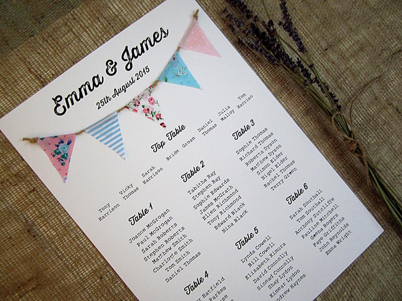 'Tea Party' fabric bunting invitation » SJ Wedding ...