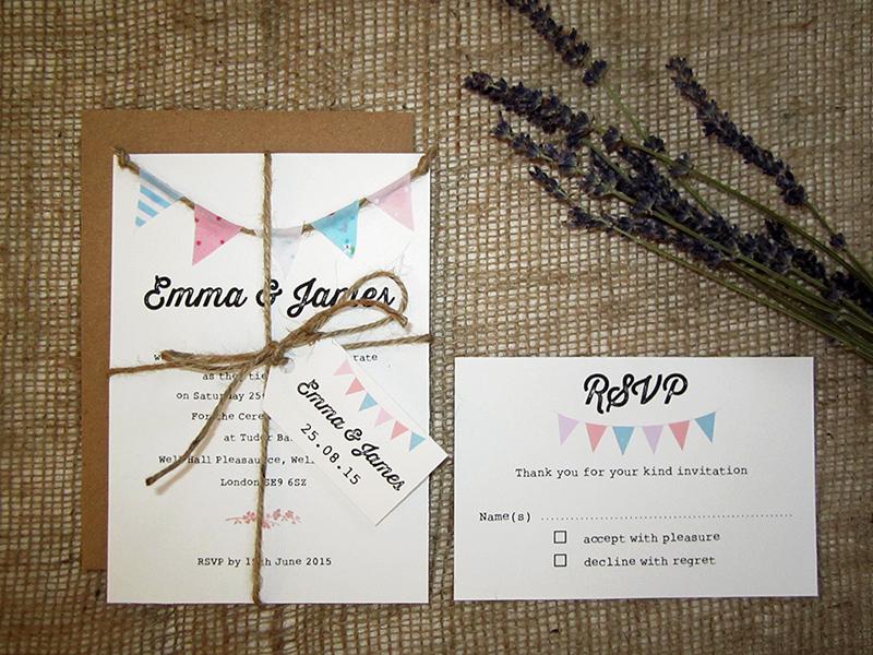 Tea Party fabric bunting invitation SJ Wedding Invitations London